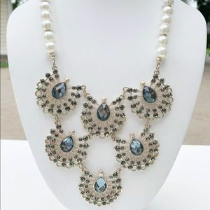 The Limited Blue Rhinestone Necklace Pearl Beads